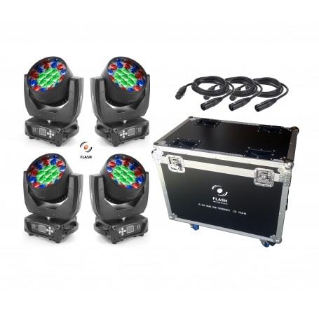 Flash LED MOVING HEAD ZOOM 19x15W RGBW SET (3 SETCIONS)